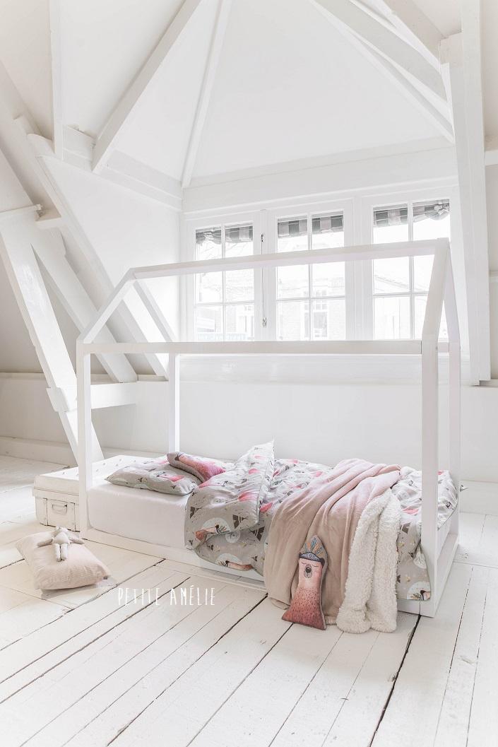 lit cabane blanc bois maison enfant 2 ans