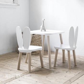 chaise enfant bois lapin