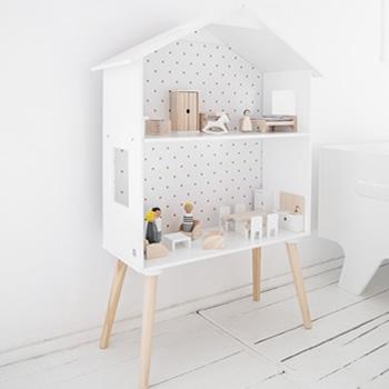 maison de poupée bois blanc étagère