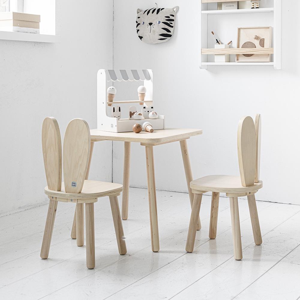 Ensemble chaises et table enfant bois Lapin Petite Amélie