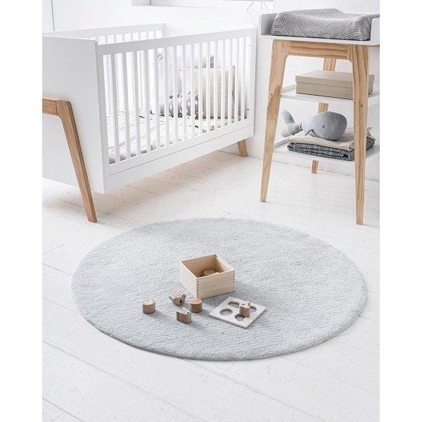 Tapis rond enfant bleu pour chambre bébé lavable Petite Amélie