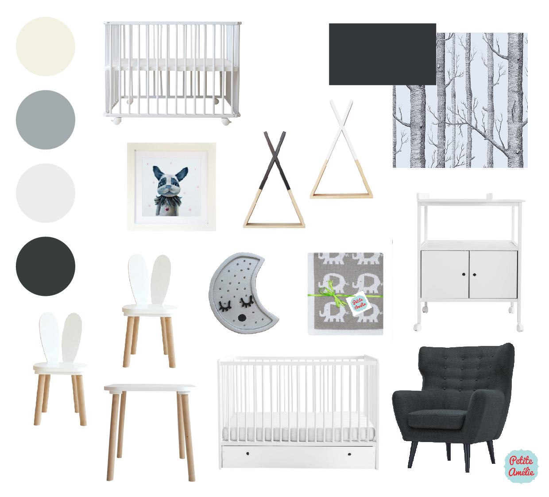 chambre bébé noir blanc