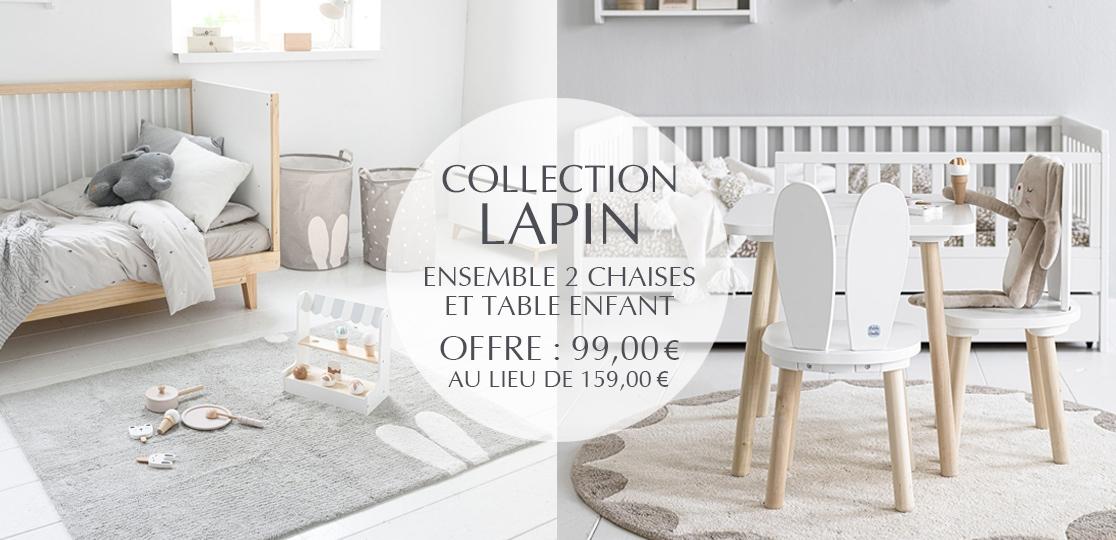 Créez votre chambre enfant : lit enfant et décoration ensemble table et chaises Lapin en bois par Petite Amélie