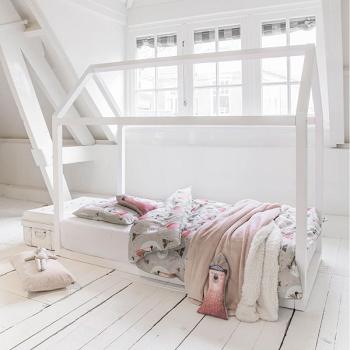 lit cabane bois blanc