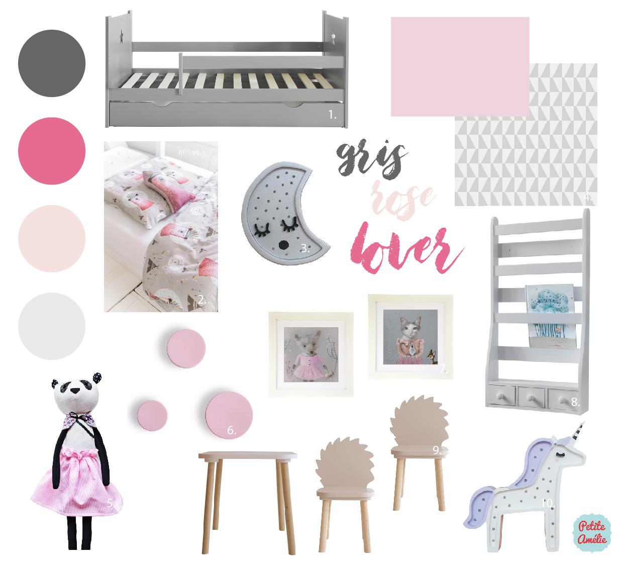 Inspiration en rose et gris pour une chambre de petite fille