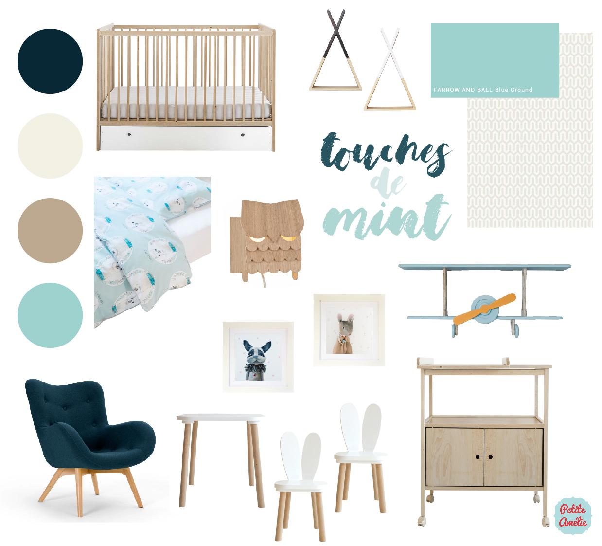 chambre bébé wood mint